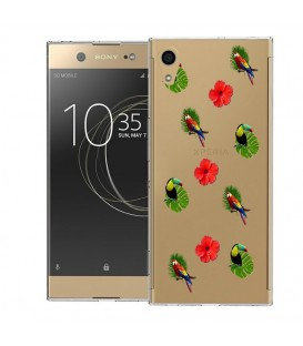 Coque Xperia XA1 ULTRA perroquet multi tropical fleur transparente
