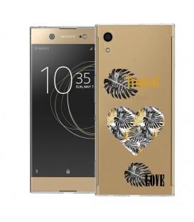 Coque Xperia XA1 ULTRA tropical love coeur transparente