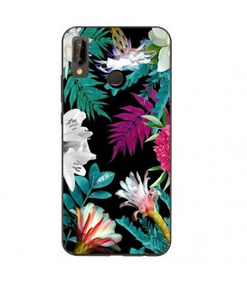 Coque Redmi Note 7 tropical Noir Fleur violet rose