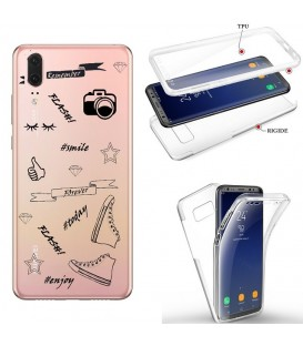 Coque P20 integrale flash BFF emojii noir transparente