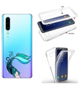 Coque P30 integrale sirene mermaid bleu transparente