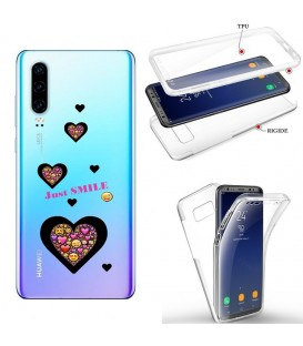 Coque P30 integrale smiley coeur emojii transparente