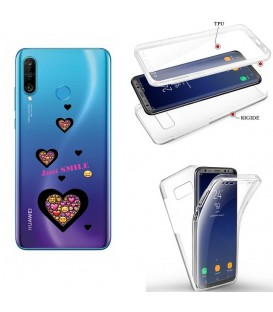 Coque P30 LITE integrale smiley coeur emojii transparente