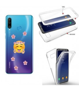 Coque P30 LITE integrale Smiley peace and love fleur emojii transparente