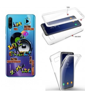 Coque P30 LITE integrale tag graffiti urban transparente