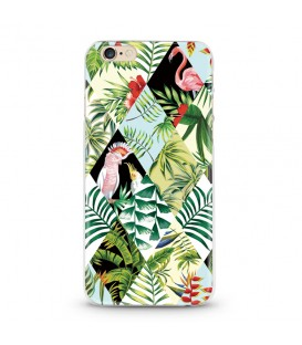 Coque iphone 6 6S Perroquet patchwork geometrique flamant tropical jungle