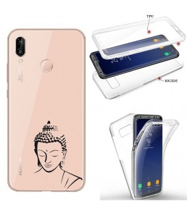 Coque Honor 8X integrale bouddha noir transparente
