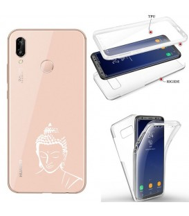 Coque Honor 8X integrale bouddha blanc transparente