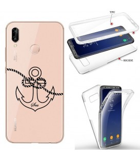 Coque Honor 8X integrale ancre noir transparente
