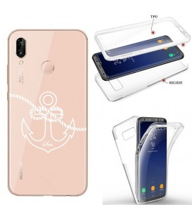 Coque Honor 8X integrale ancre blanc transparente