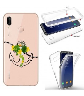 Coque Honor 8X integrale ancre fleur tropical transparente