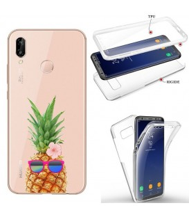 Coque Honor 8X integrale ananas lunettes tropical fleur transparente
