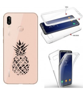 Coque Honor 8X integrale ananas geometrique noir transparente
