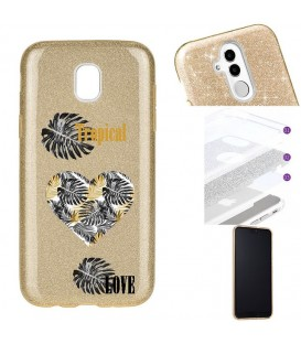 Coque J3 2017 glitter paillettes dore tropical love coeur