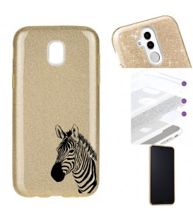 Coque J3 2017 glitter paillettes dore zebre wild jungle raye