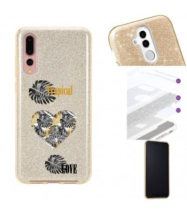 Coque P20 PRO glitter paillettes dore tropical love coeur