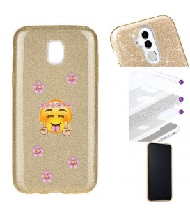 Coque J5 2017 glitter paillettes dore Smiley peace fleur emojii
