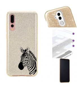 Coque P30 glitter paillettes dore zebre wild jungle raye
