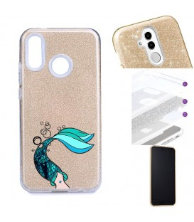 Coque Redmi NOTE 7 glitter paillettes dore sirene mermaid bleu