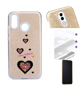 Coque Redmi NOTE 7 glitter paillettes dore smiley coeur emojii