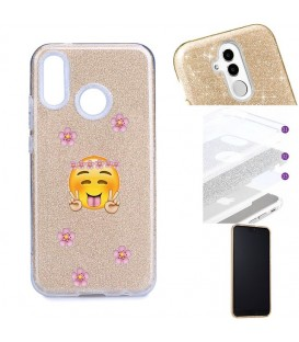 Coque Y7 2019 glitter paillettes dore Smiley peace fleur emojii