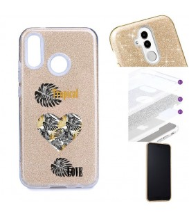 Coque Y7 2019 glitter paillettes dore tropical love coeur