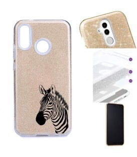 Coque Y7 2019 glitter paillettes dore zebre wild jungle raye