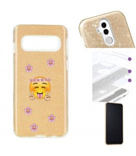Coque Galaxy S10 glitter paillettes dore Smiley peace fleur emojii