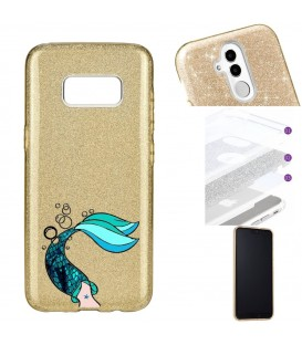 Coque Galaxy S8 glitter paillettes dore sirene mermaid bleu