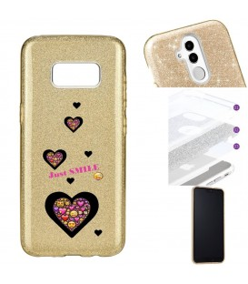Coque Galaxy S8 glitter paillettes dore smiley coeur emojii