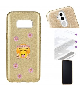 Coque Galaxy S8 glitter paillettes dore Smiley peace fleur emojii