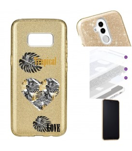 Coque Galaxy S8 glitter paillettes dore tropical love coeur