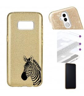 Coque Galaxy S8 glitter paillettes dore zebre wild jungle raye