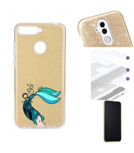 Coque P Smart 2018 glitter paillettes dore sirene mermaid bleu