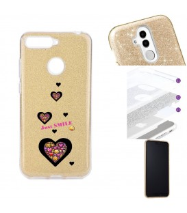 Coque P Smart 2018 glitter paillettes dore smiley coeur emojii