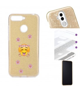 Coque P Smart 2018 glitter paillettes dore Smiley peace fleur emojii