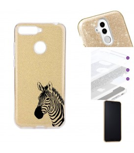 Coque P Smart 2018 glitter paillettes dore zebre wild jungle raye