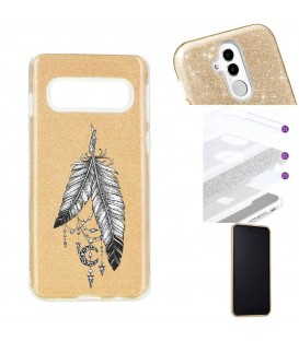 Coque Galaxy S10 PLUS glitter paillettes dore plumes dreamcatcher