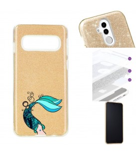 Coque Galaxy S10 PLUS glitter paillettes dore sirene mermaid bleu