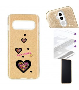 Coque Galaxy S10 PLUS glitter paillettes dore smiley coeur emojii