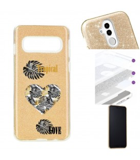 Coque Galaxy S10 PLUS glitter paillettes dore tropical love coeur