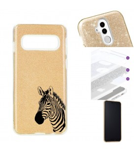 Coque Galaxy S10 PLUS glitter paillettes dore zebre wild jungle raye
