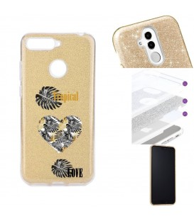 Coque MI 8 LITE glitter paillettes dore tropical love coeur