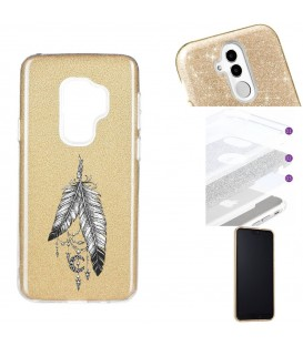 Coque Galaxy S9 PLUS glitter paillettes dore plumes dreamcatcher