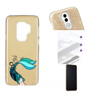 Coque Galaxy S9 PLUS glitter paillettes dore sirene mermaid bleu
