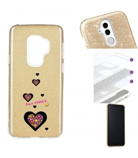 Coque Galaxy S9 PLUS glitter paillettes dore smiley coeur emojii