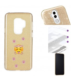 Coque Galaxy S9 PLUS glitter paillettes dore Smiley peace fleur emojii