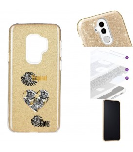 Coque Galaxy S9 PLUS glitter paillettes dore tropical love coeur