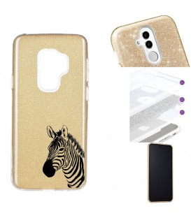 Coque Galaxy S9 PLUS glitter paillettes dore zebre wild jungle raye