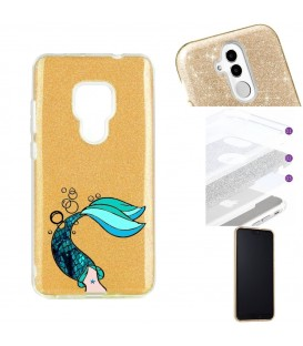Coque Mate 20 glitter paillettes dore sirene mermaid bleu